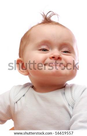 funny baby girl isolated on white background - stock photo