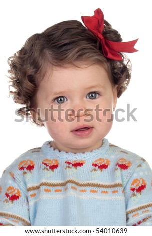 Funny baby girl with red loop isolated over white background - stock photo