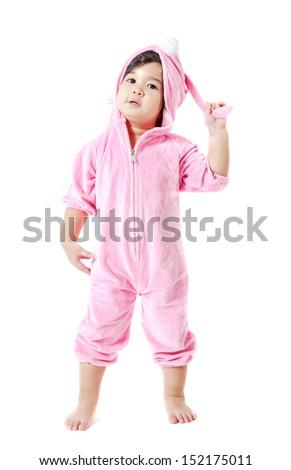 Funny baby in a bunny custom - stock photo