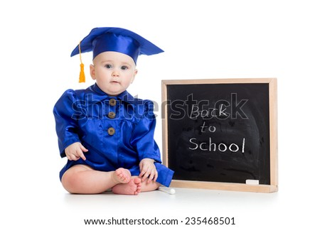 funny baby in academician clothes at chalkboard isolated - stock photo