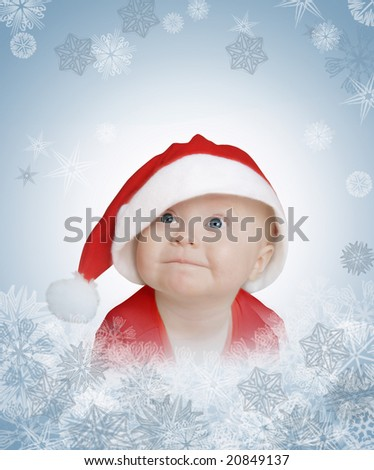 funny baby in big Santa Claus hat on snowflakes background - stock photo