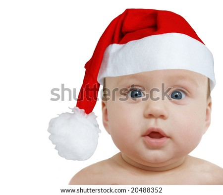 funny baby in big Santa Claus hat on white background, space for text - stock photo