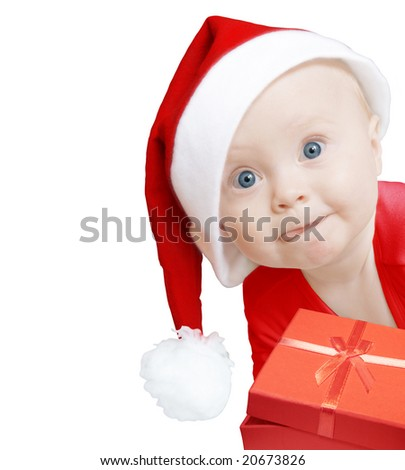 funny baby in Santa hat with present box on white background, space for text - stock photo