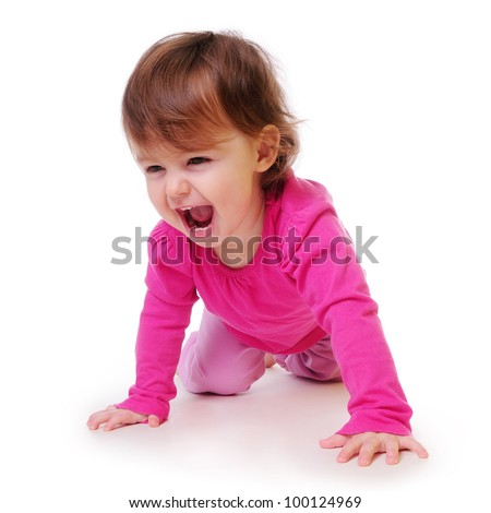 funny baby learns to crawl. dynamic movement. isolated on white - stock photo