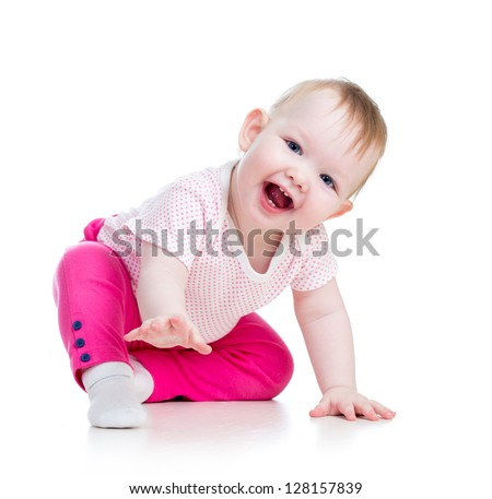 Funny baby sitting on the floor, isolated over white - stock photo