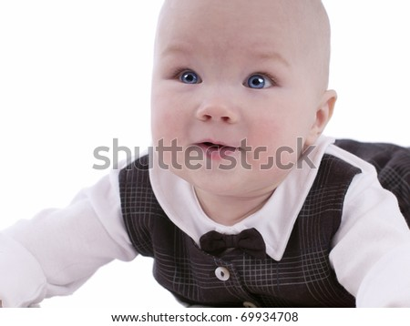 Funny baby.Was wearing a waistcoat with a butterfly. Boy 6 months