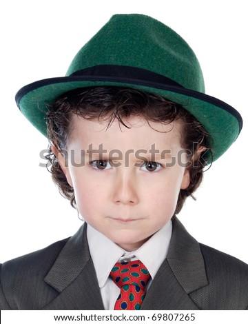 Funny bad boy isolated on white background - stock photo