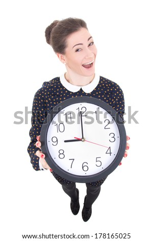 funny beautiful business woman showing clock isolated on white background - stock photo