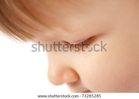 funny beautiful girl close-up portrait isolated - stock photo