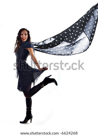 funny beautiful girl in studio - stock photo
