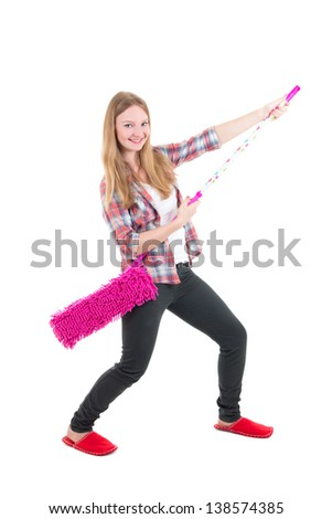 funny beautiful girl with pink mop isolated on white background - stock photo