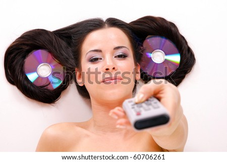 Funny Beautiful young woman  Listening to Music - stock photo