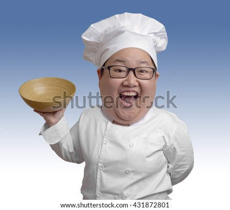 funny big head chef laughing with wooden bowl - stock photo