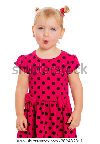 Funny blonde girl with pigtails makes his lips- isolated on white background - stock photo
