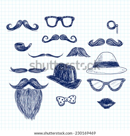 Funny blue color hipster doodle elements on paper sheet background - stock photo