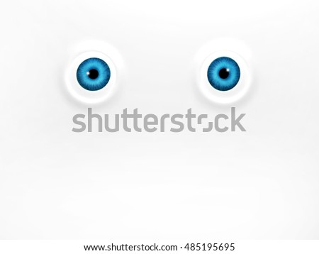 Funny blue eyes on white background. 3d render