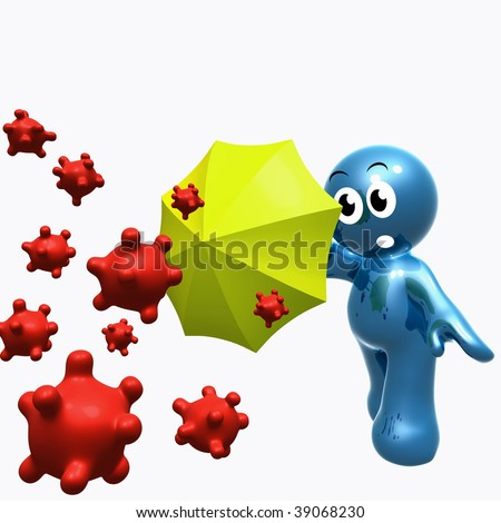 Funny blue icon protecting self from virus with umbrella - stock photo