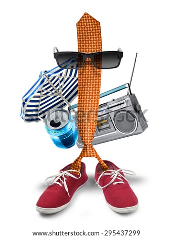 Funny boss businessman necktie character on summer holiday - stock photo