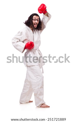 Funny boxer isolated on the white background - stock photo