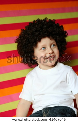 Funny boy from 70-s - stock photo