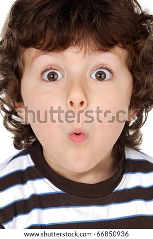 Funny boy grimacing isolated on white background - stock photo