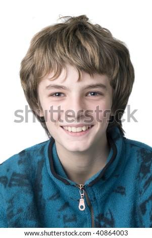funny boy portrait isolated on white - stock photo