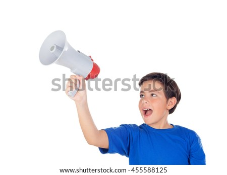 Funny boy shouting through a megaphone isolated on a white background - stock photo