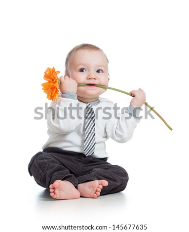 funny boy with flower , isolated on white - stock photo