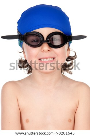 Funny boy with glasses and hat swimmer ready to learn to swim isolated on blano - stock photo