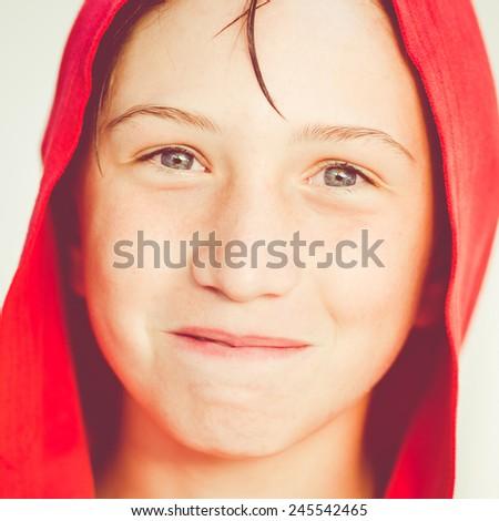 funny boy with red bathrobe - stock photo