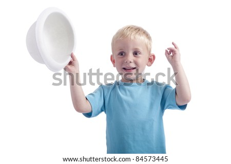 Funny boy with white bowler hat in his hands. isolated on white background - stock photo