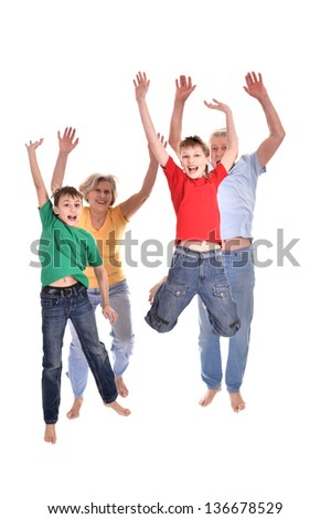 funny boys and their grandparents are jumping on a white background