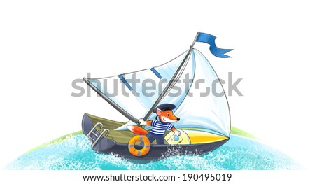 Funny brave fox sailor on the yacht in the sea