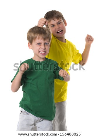 funny brothers - stock photo