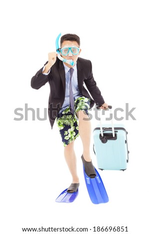 funny businessman put on scuba gear and ready to run - stock photo
