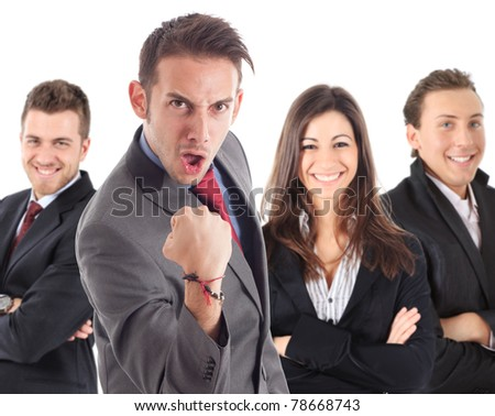 Funny businessman raising his fist in sign of success. - stock photo