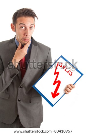 Funny businessman showing a disastrous business graph - stock photo