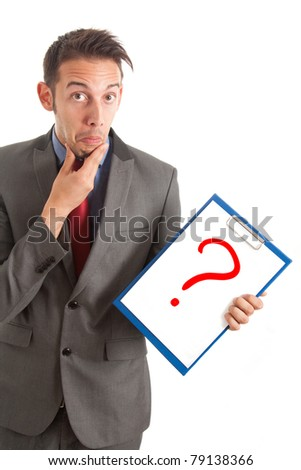 Funny businessman showing a question mark - stock photo