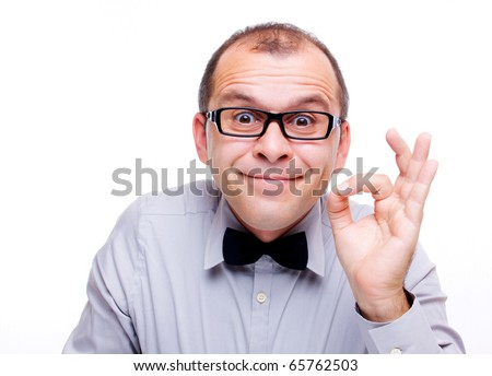 Funny businessman showing OK sign isolated on white