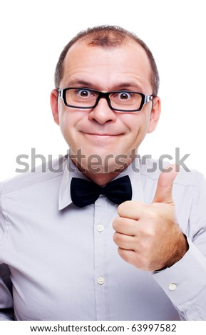 Funny businessman showing thumb up isolated on white - stock photo
