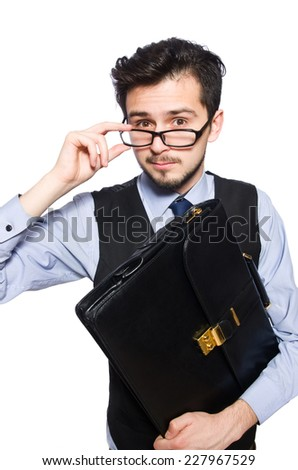 Funny businessman with briefcase isolated on white - stock photo