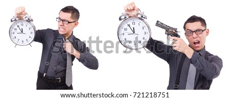 Funny businessman with clock and gun