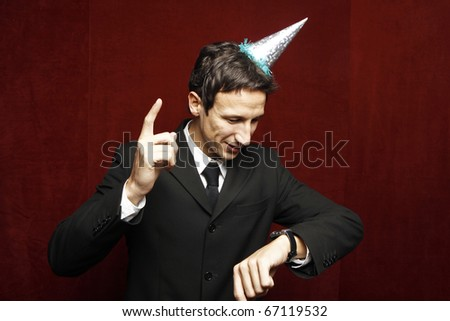 funny businessman with party hat