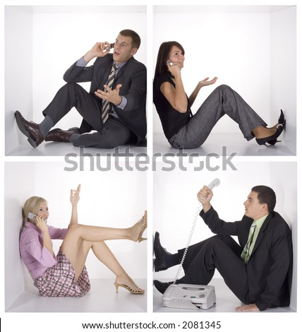 funny businessteam on the phone in the white cubes - stock photo