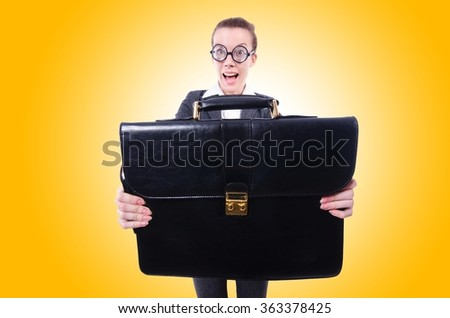 Funny businesswoman isolated on white - stock photo