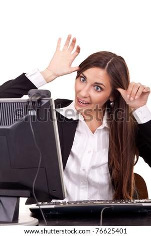 funny businesswoman using  webcam - stock photo
