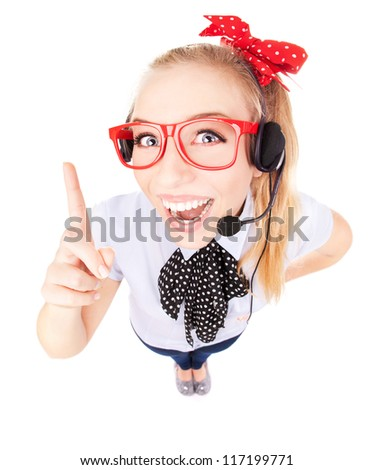 Funny call center concept - woman with headset - stock photo