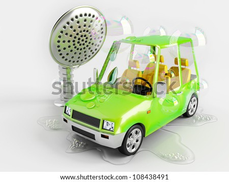 Funny car on a toy car wash - stock photo