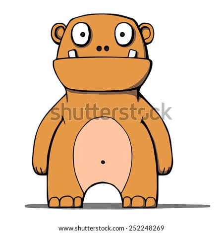 Funny cartoon bear monster.  Illustration. Isolated on white. - stock photo