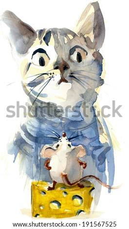 Funny cartoon cat and mouse with cheese watercolor illustration painting - stock photo